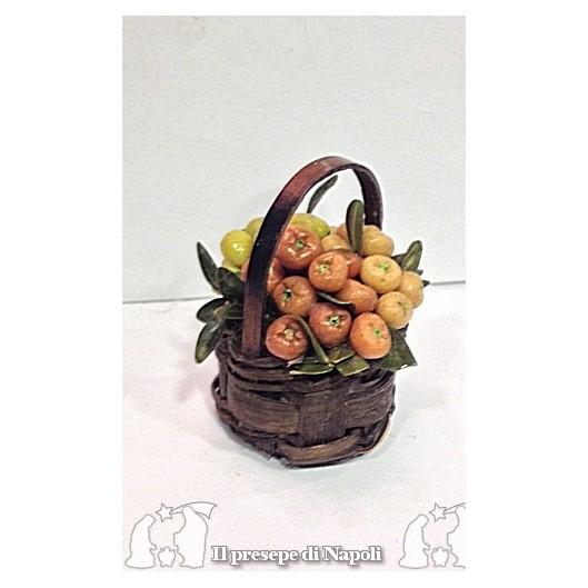 cesto rotondo di paglia con frutta per pastori cm 30