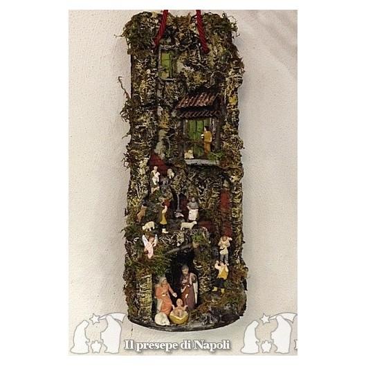 Tegola a muro grande con pastori di terracotta artigianato napoletano