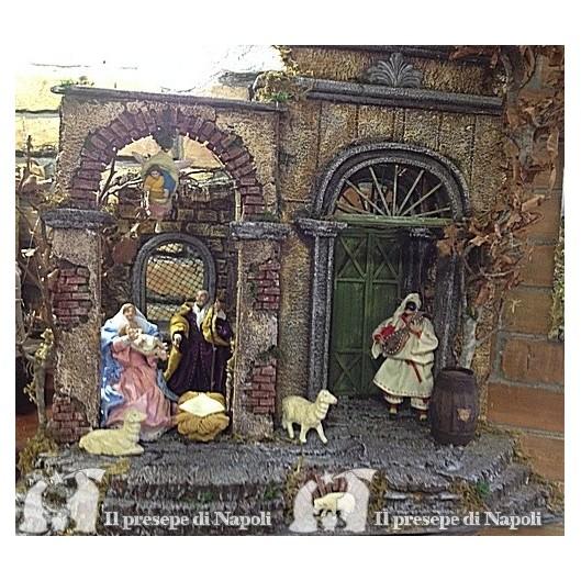 Scena di sughero e legno totalmente realizzata a mano con pastori cm 14 vestiti , + accessori e luce