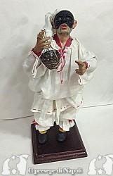 pulcinella cm 32-33 con occhi di vetro e vestito in lino fatto a mano e fiasco di vetro impagliato a mano