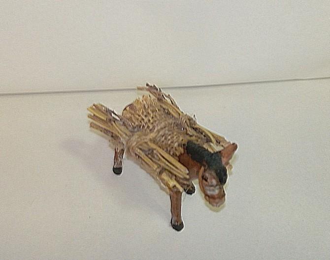 asino di terracotta con fascine per pastori cm 7