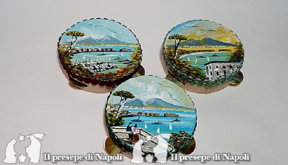 tamburella napoletana  dipinta con scene di Napoli dm cm 7,5 circa