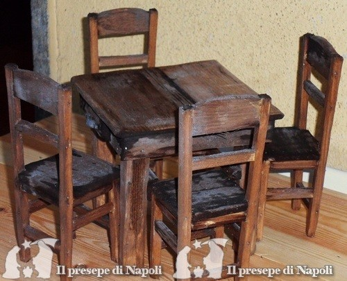 Credenza Per Presepe : Tavolo con sedie tutto in legno il presepe di napoli