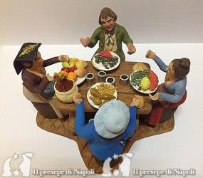 Pastori a tavola che mangiano
