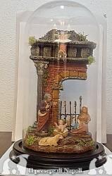 Tempio con pastori di terracotta cm 7 con campana