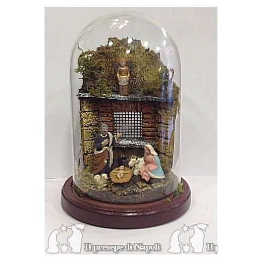 tempietto con pastori di terracotta cm 4 in campana 9 x 16