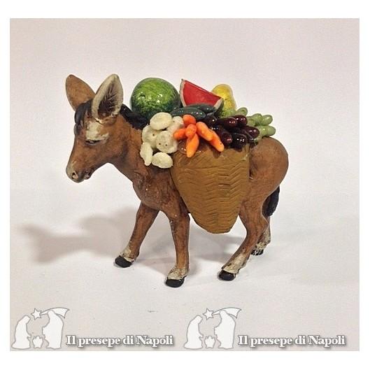 asino per pastori cm 7 con cesti di frutta e verdura