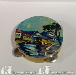 Tamburella in legno dipinta a mano