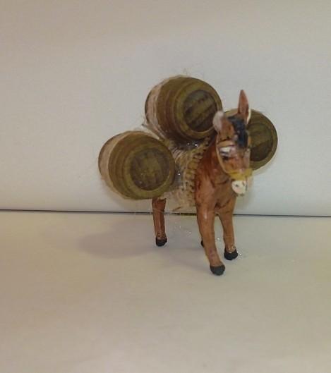 asino di terracotta con botti per pastori cm 7