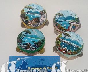 tamburella in legno fatta a mano dm 4,5 cm circa dipinta con scena Napoli