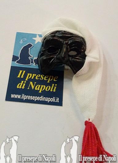 maschera di pulcinella con cappello  in tessuto(piccola)