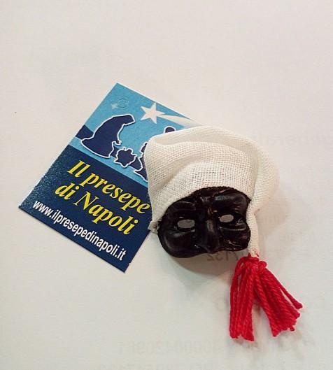maschera di pulcinella con cappello  in tessuto(media)