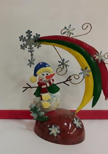 Pupazzo di neve  da appoggio in latta cm 17 circa (stile vintage edizione limitata)