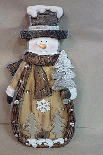 Pupazzo di neve  con luci effetto legno  h cm 45 circa