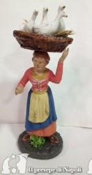 donna con cesta di oche sulla testa