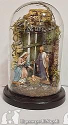 scena con portone con pastori Landi cm 6,5 in campana 9 x 16