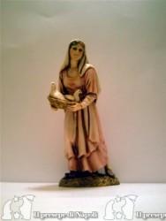 donna con cesta e colombi