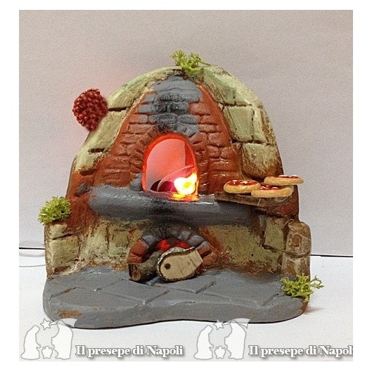 Forno con pizze di terracotta e luce
