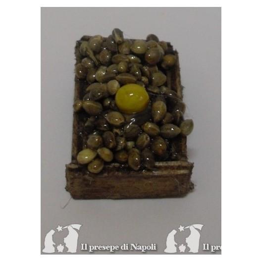 cassetta di legno con frutti di mare cm 2.5x3.5